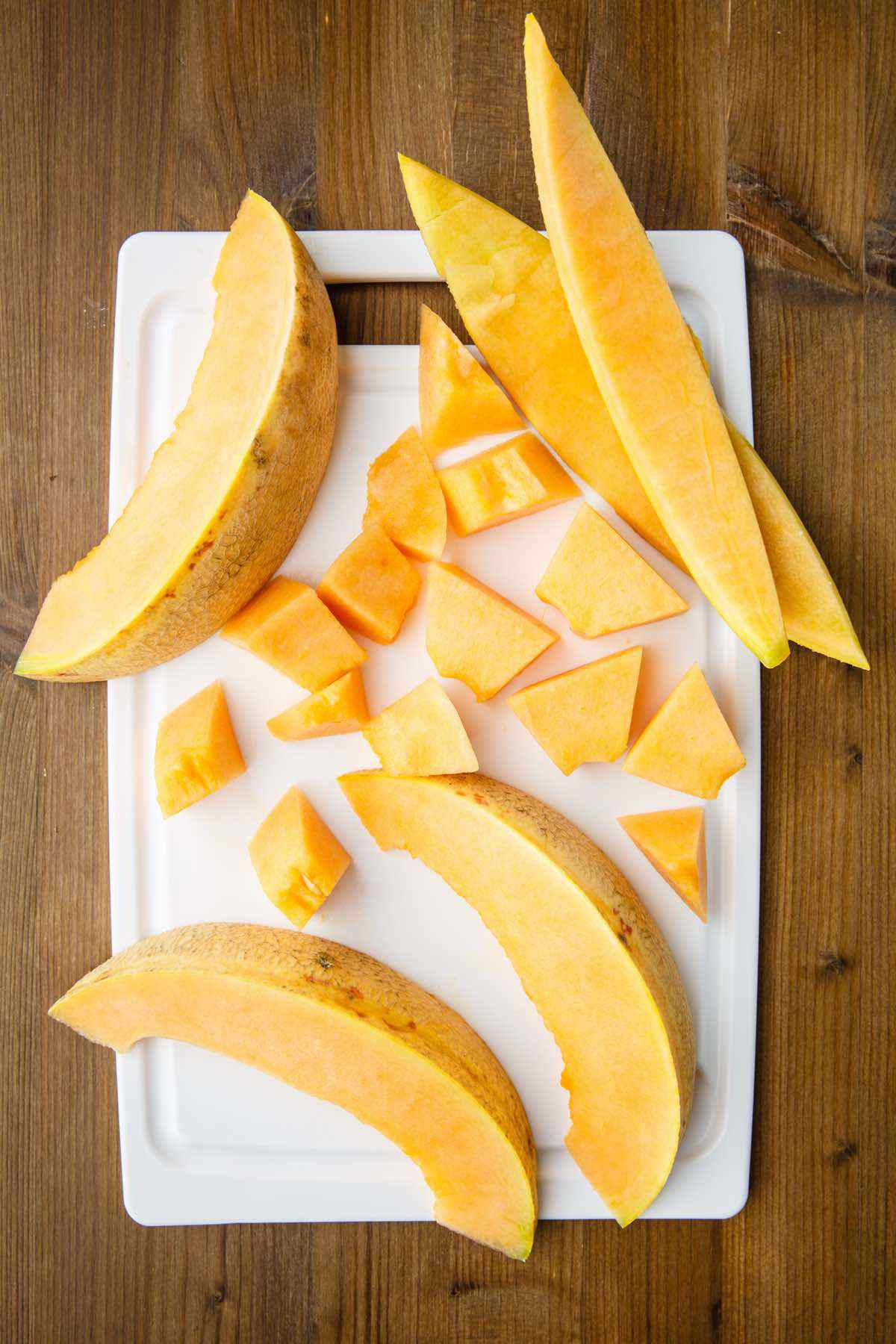 cutting up melon