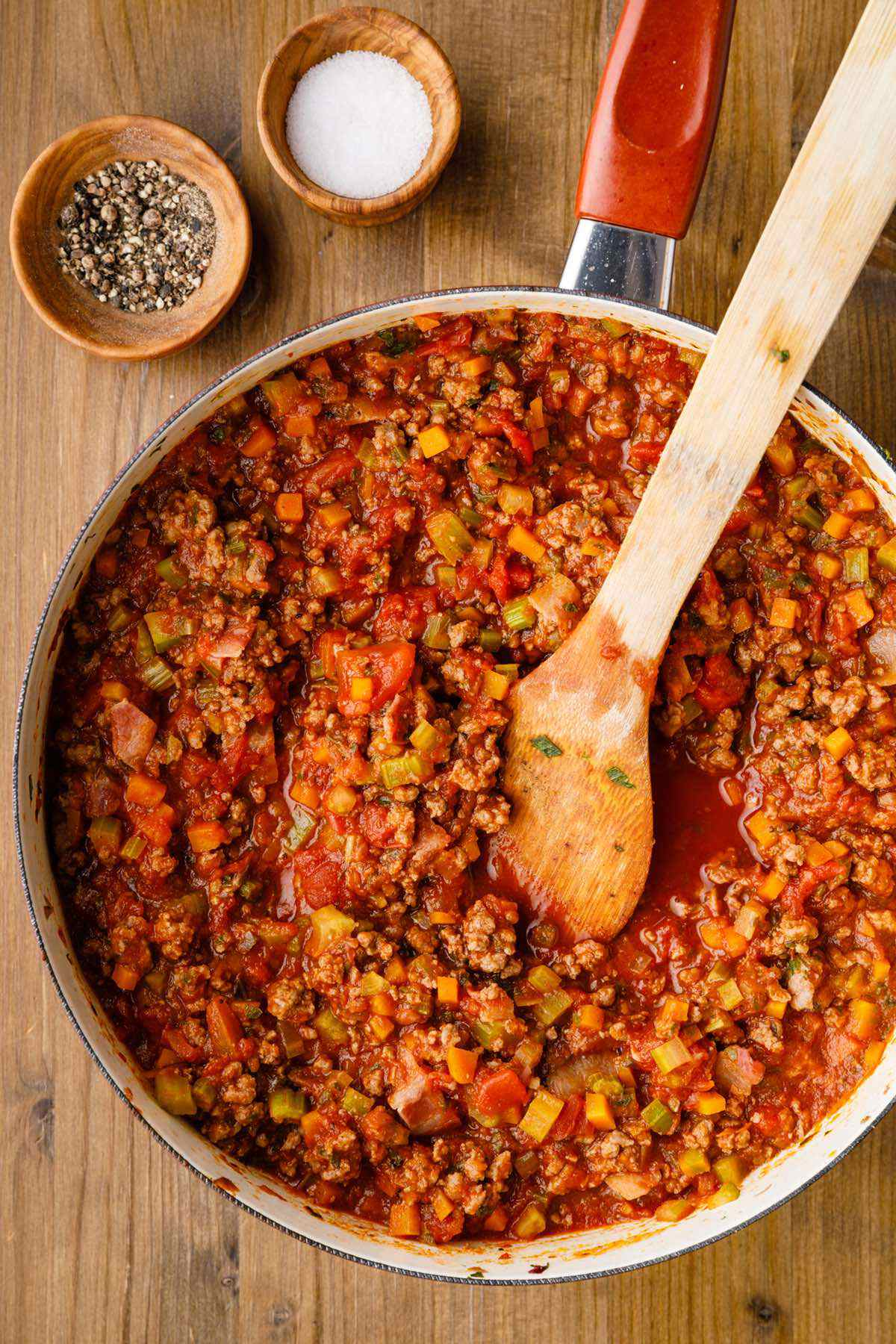 prepping bolognese sauce