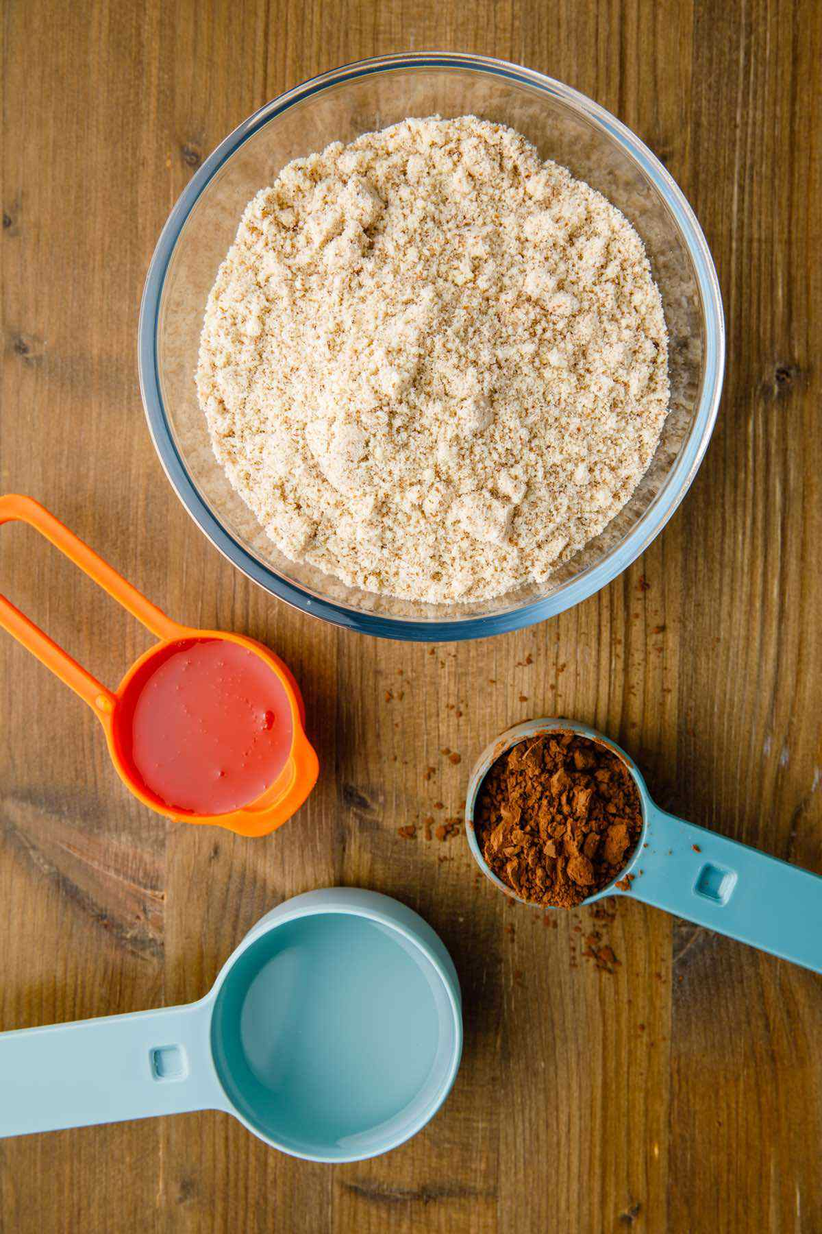 prepping brownie cookie ingredients