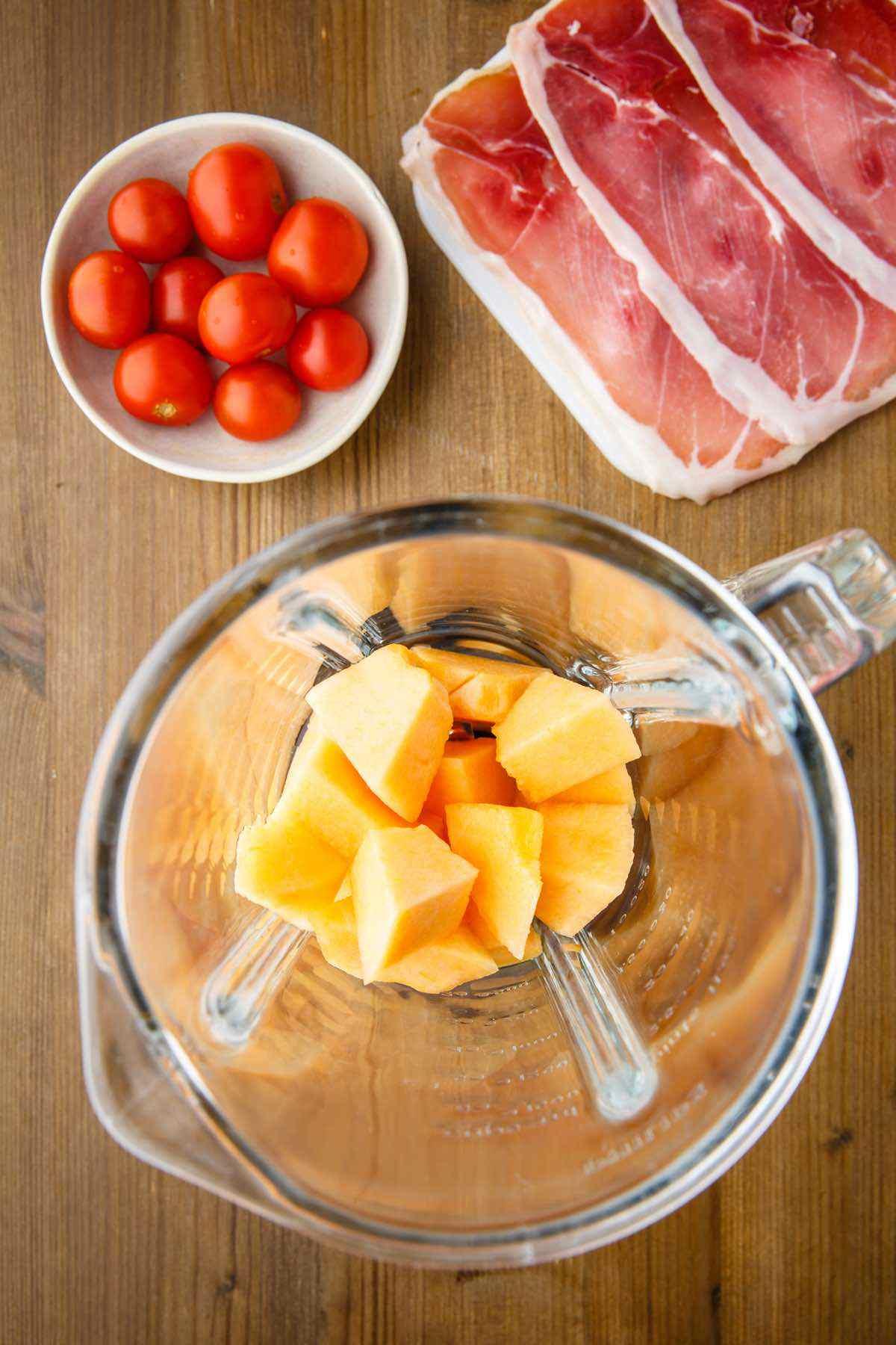 prepping ingredients melon gazpacho