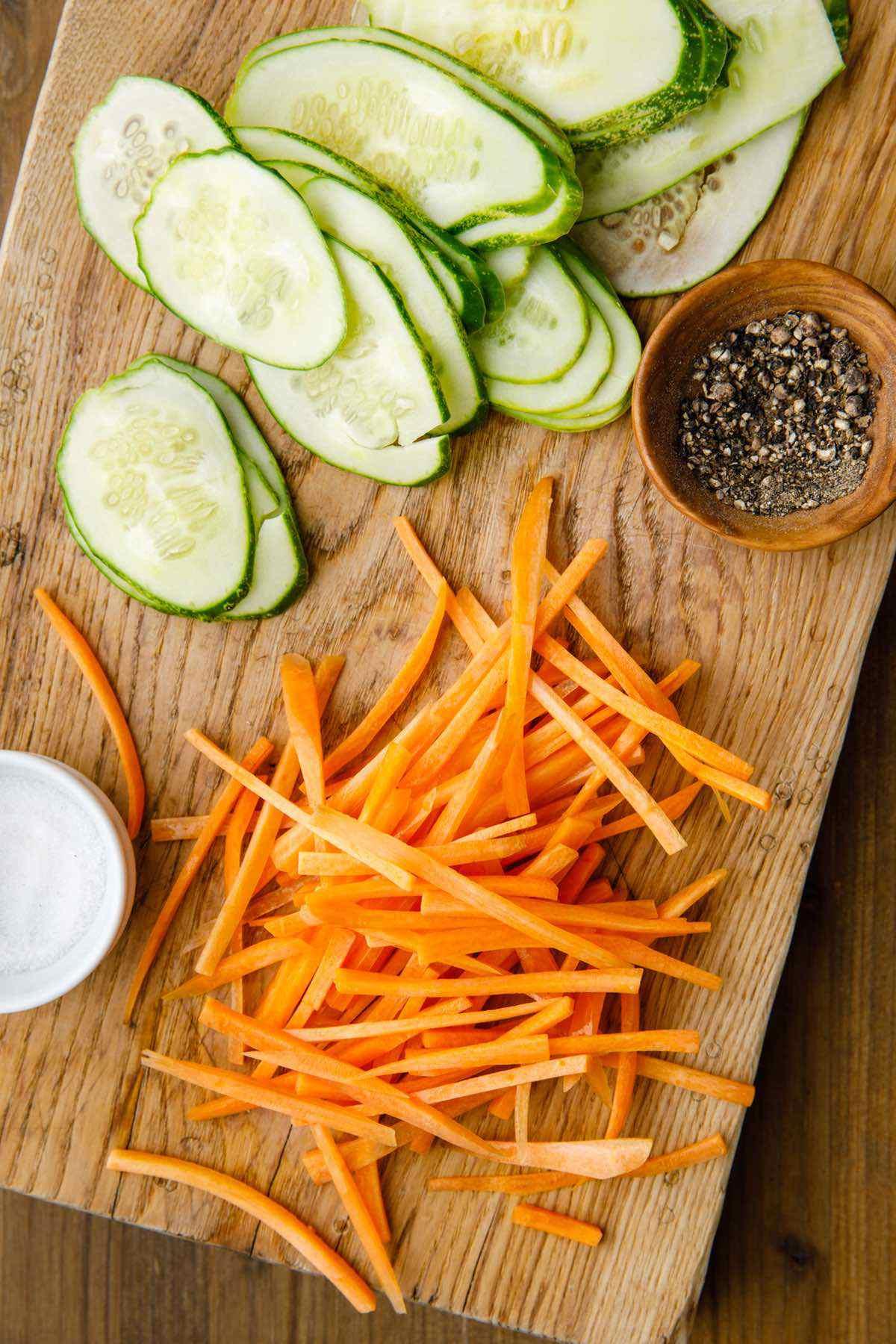 prepping raw veggies