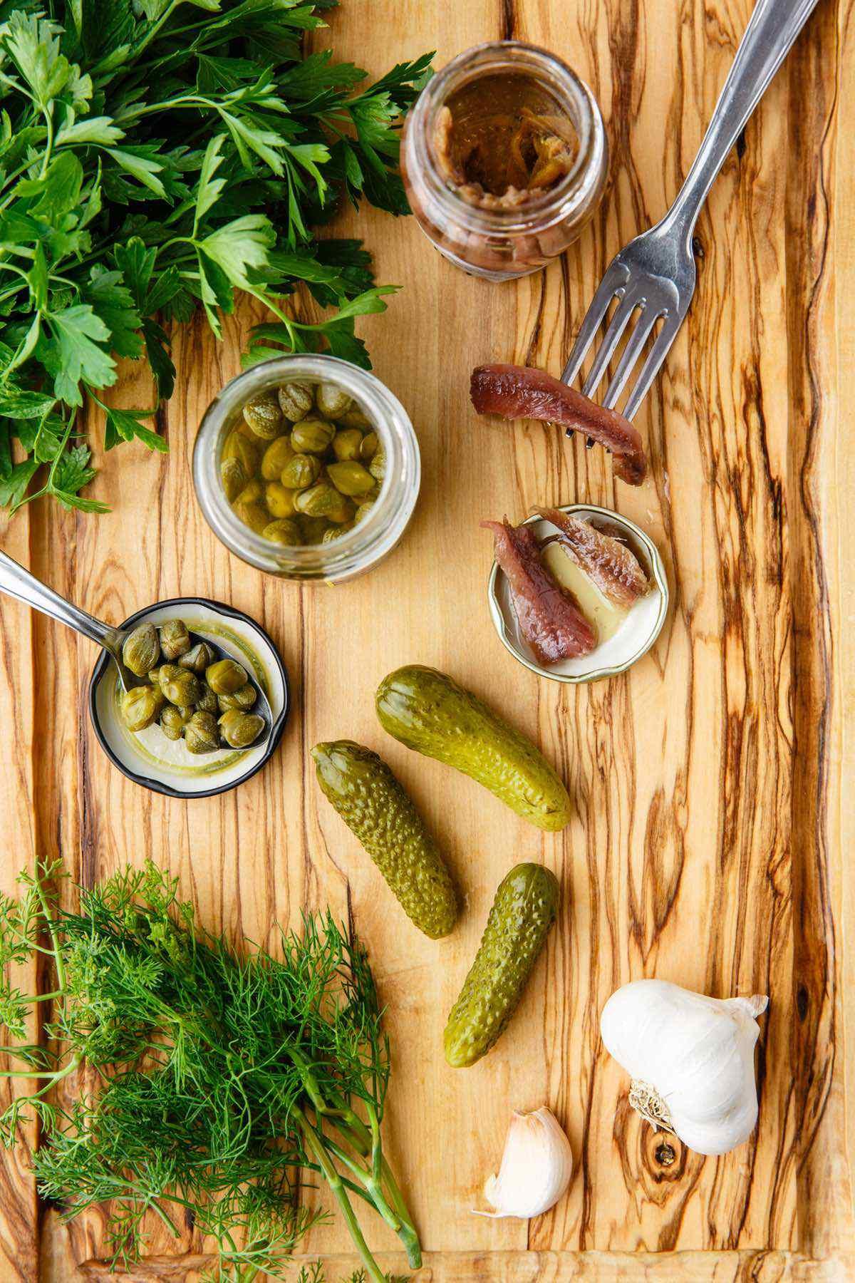 prepping salsa verde ingredients