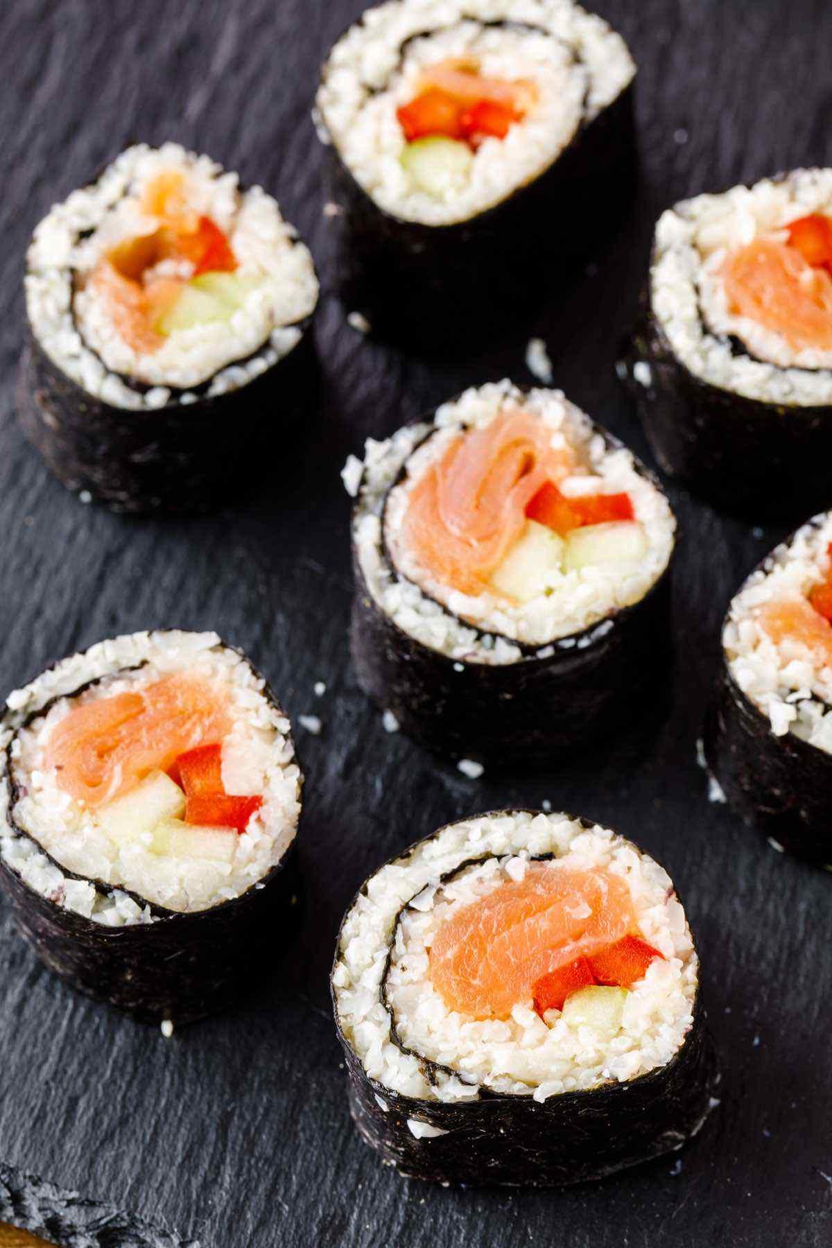 prepared sushi rolls