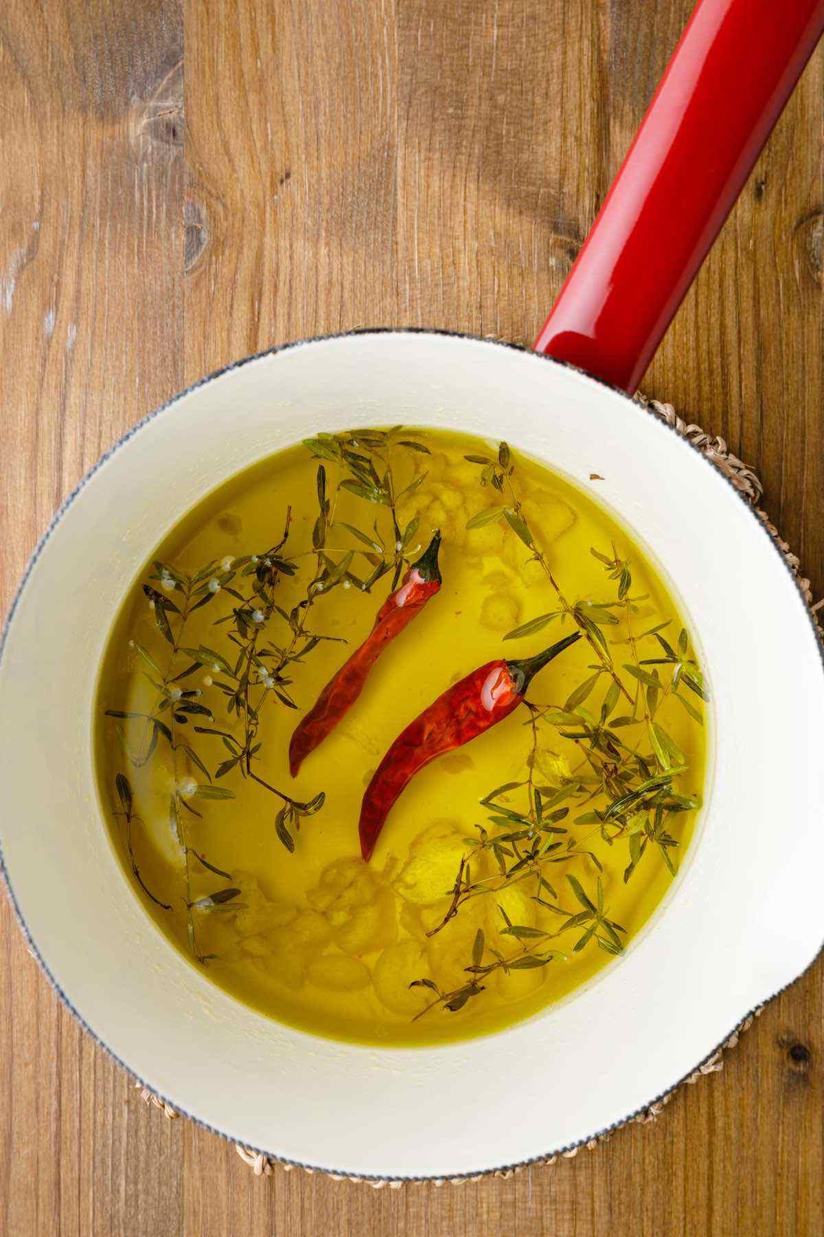 simmering olive oil