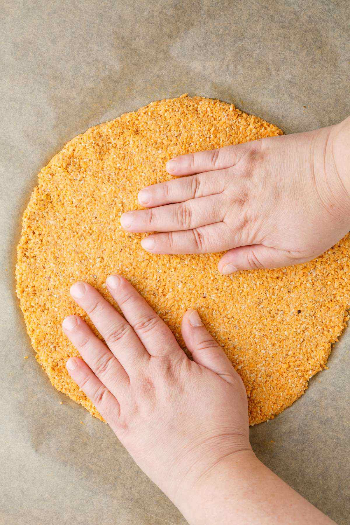 forming the sweet potato crust
