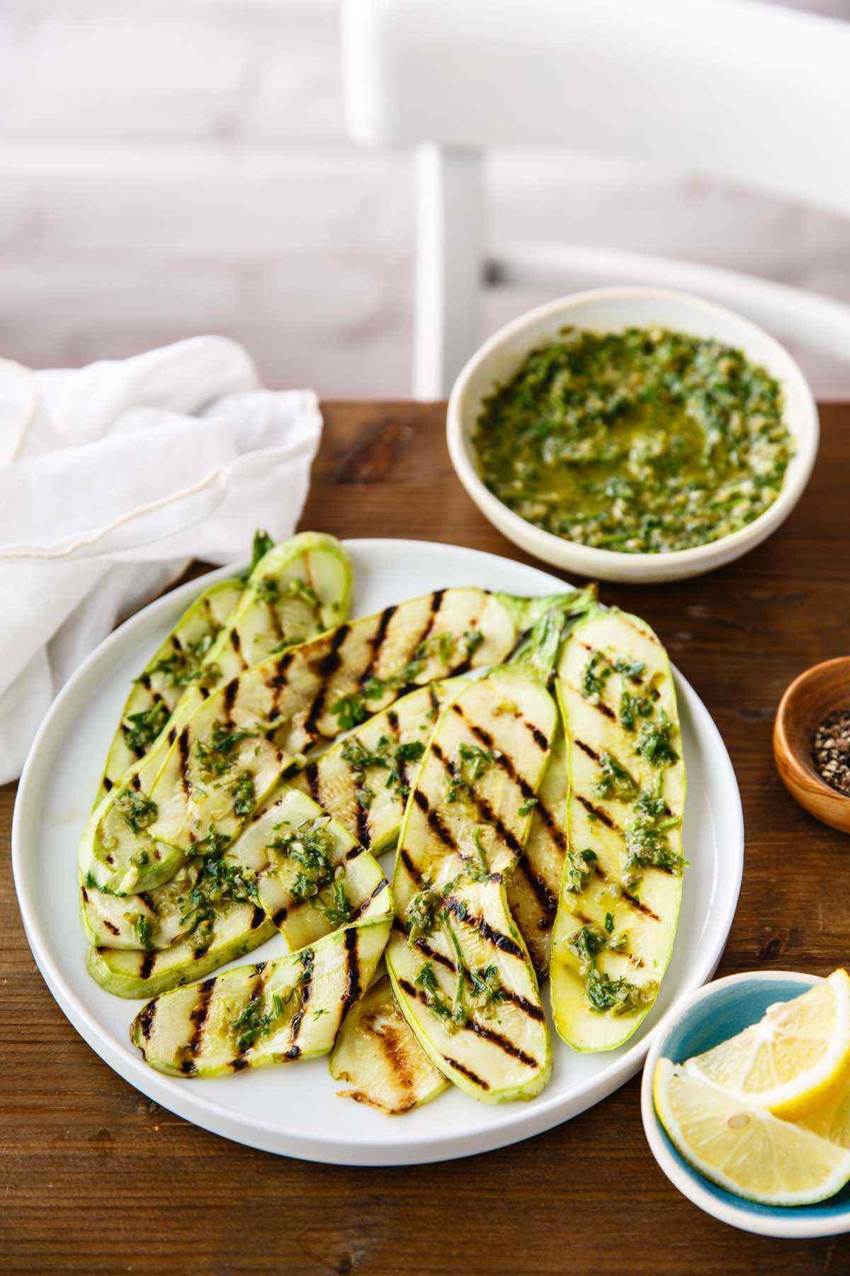 paleo grilled zucchini with salsa verde recipe