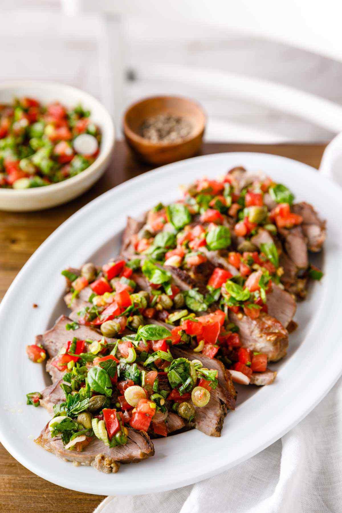 paleo roasted leg of lamb with tomato caper salsa recipe