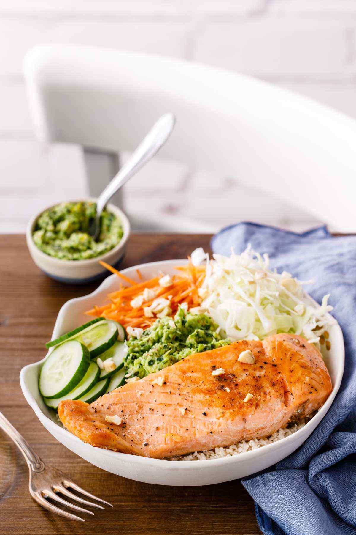 paleo thai pesto basil salmon bowl