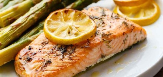 Lemon Garlic Salmon with Roasted Asparagus