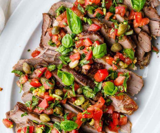 Roasted Leg of Lamb with Tomato and Caper Salsa