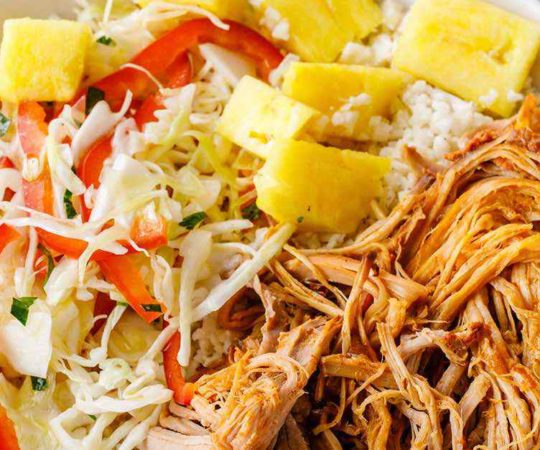 Slow Cooked Pork Burrito Bowls with Homemade Coleslaw