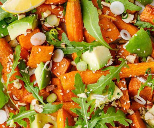 Warm Moroccan Avocado and Roasted Vegetable Salad