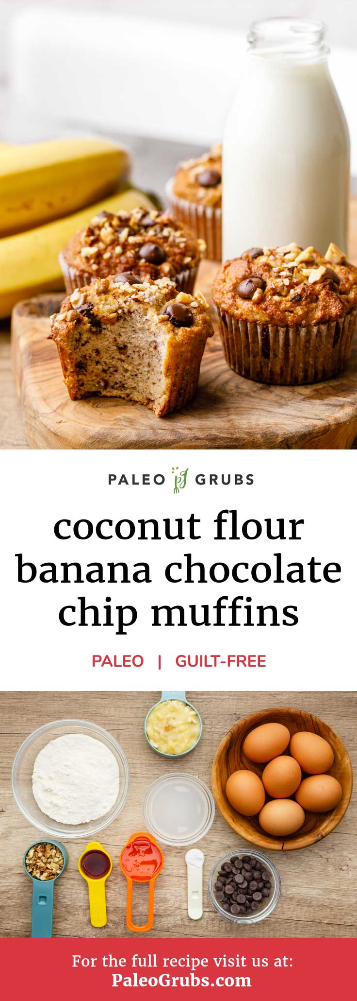 This is easily one of my favorite muffin recipes of all time. It takes the great taste of banana bread and adds in walnuts and dark chocolate chips to make some truly tasty paleo muffins that can be enjoyed as a snack or as a grab and go breakfast option whenever you're feeling rushed in the mornings.