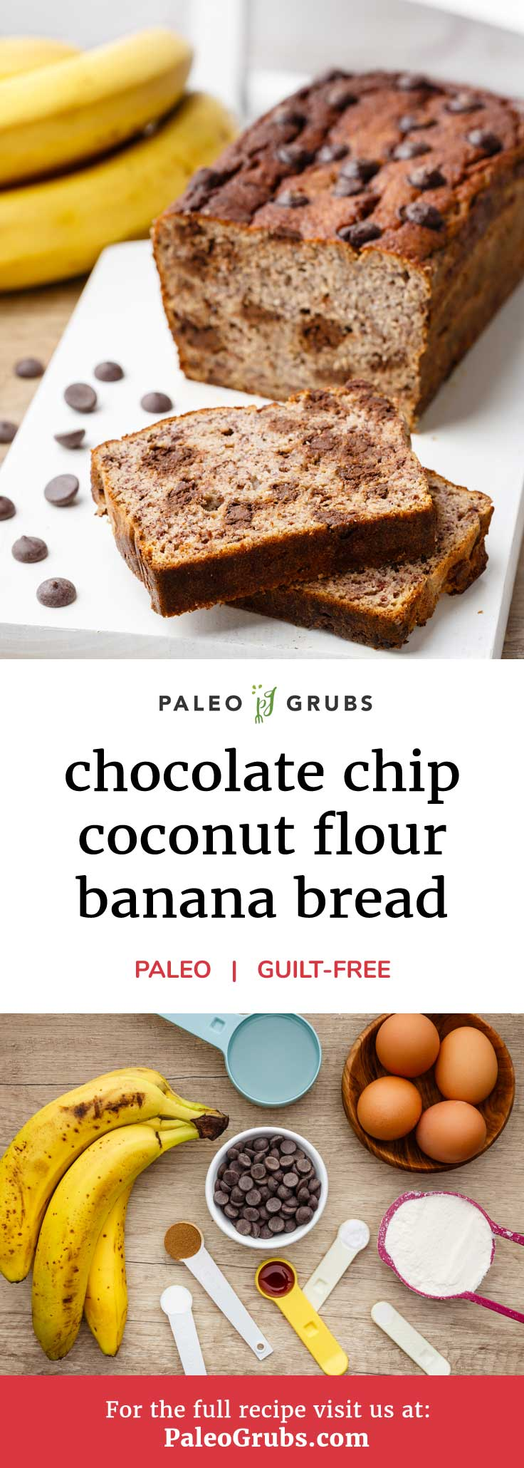 If you love banana bread then this is one paleo recipe that you won't want to miss. Each and every bite of this delicious chocolate chip banana bread fuels your body and soul. YUM!