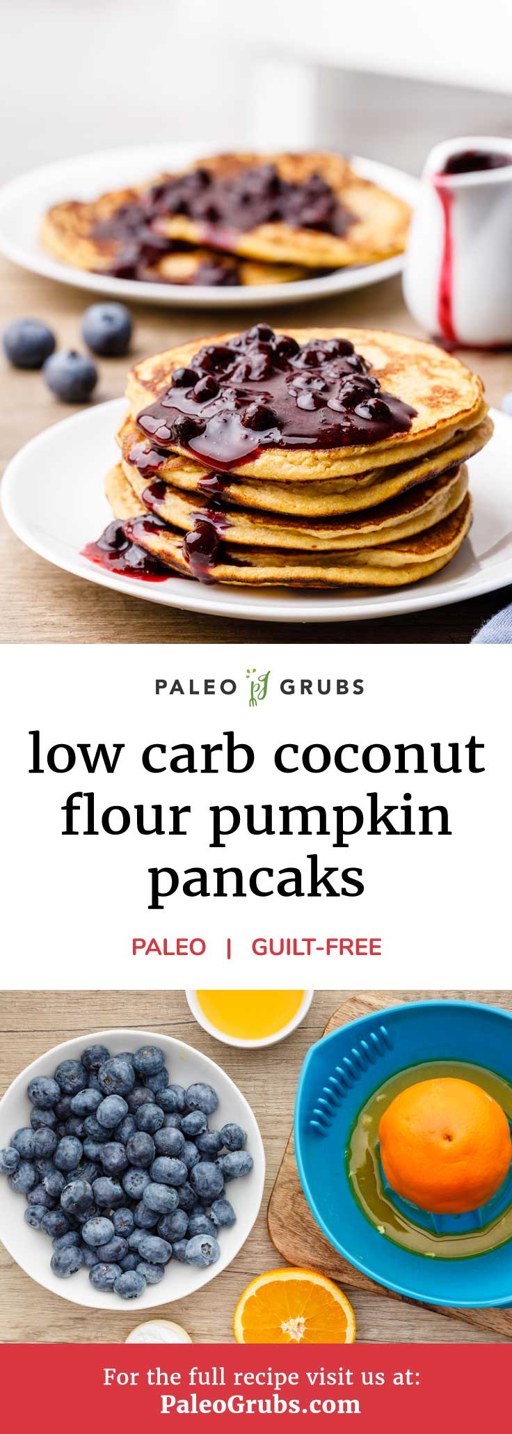 Enjoying paleo pancakes for breakfast is nothing new. There are dozens upon dozens of healthy ways to enjoy making pancakes from scratch, using everything from bananas to sweet potatoes. However, this low carb coconut flour pumpkin pancake recipe just might end up being your new favorite. Just wait until you try the delicious homemade blueberry syrup.