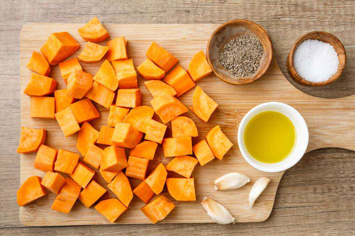 garlic roasted sweet potato ingredients