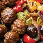 paleo teriyaki meatballs and roasted vegetables