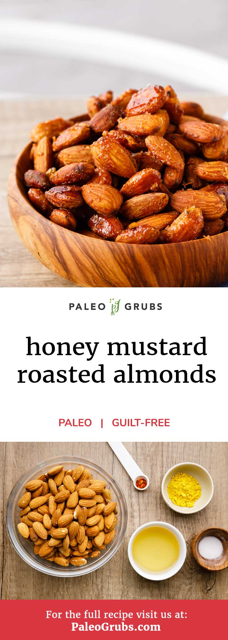 One of my favorite snacks to grab when I'm in a hurry and pressed for time is a handful of these homemade honey mustard roasted almonds! YUM.