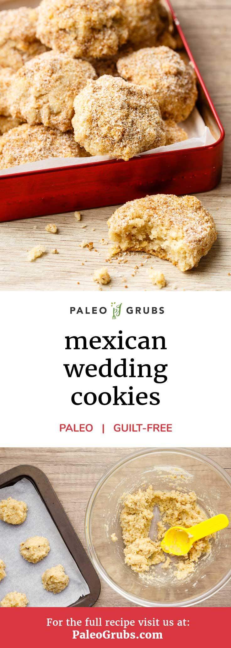 Mexican wedding cookies (also known as Mexican wedding cakes despite being a cookie) are a delicious baked treat commonly served at weddings and other sorts of celebrations in Mexico. They're a yummy cookie that is usually held together by flour, butter, sugar, and nuts. This recipe slots in almond flour, ghee, and maple syrup to make a paleo-friendly version that effortlessly rivals the original version.