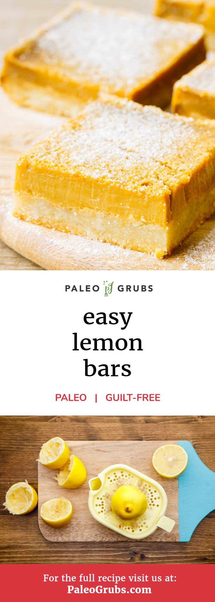 Do you need more lemon desserts in your life? I know the feeling. That's precisely why I wanted to share this awesome recipe for homemade paleo lemon bars. It uses all natural whole food ingredients to make a deliciously sweet and tart paleo-friendly dessert offering that you won't be able to get enough of.