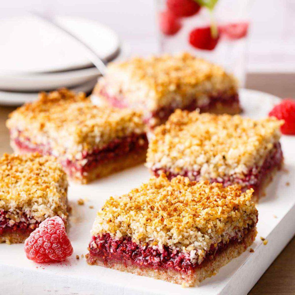 paleo raspberry crumble breakfast bars