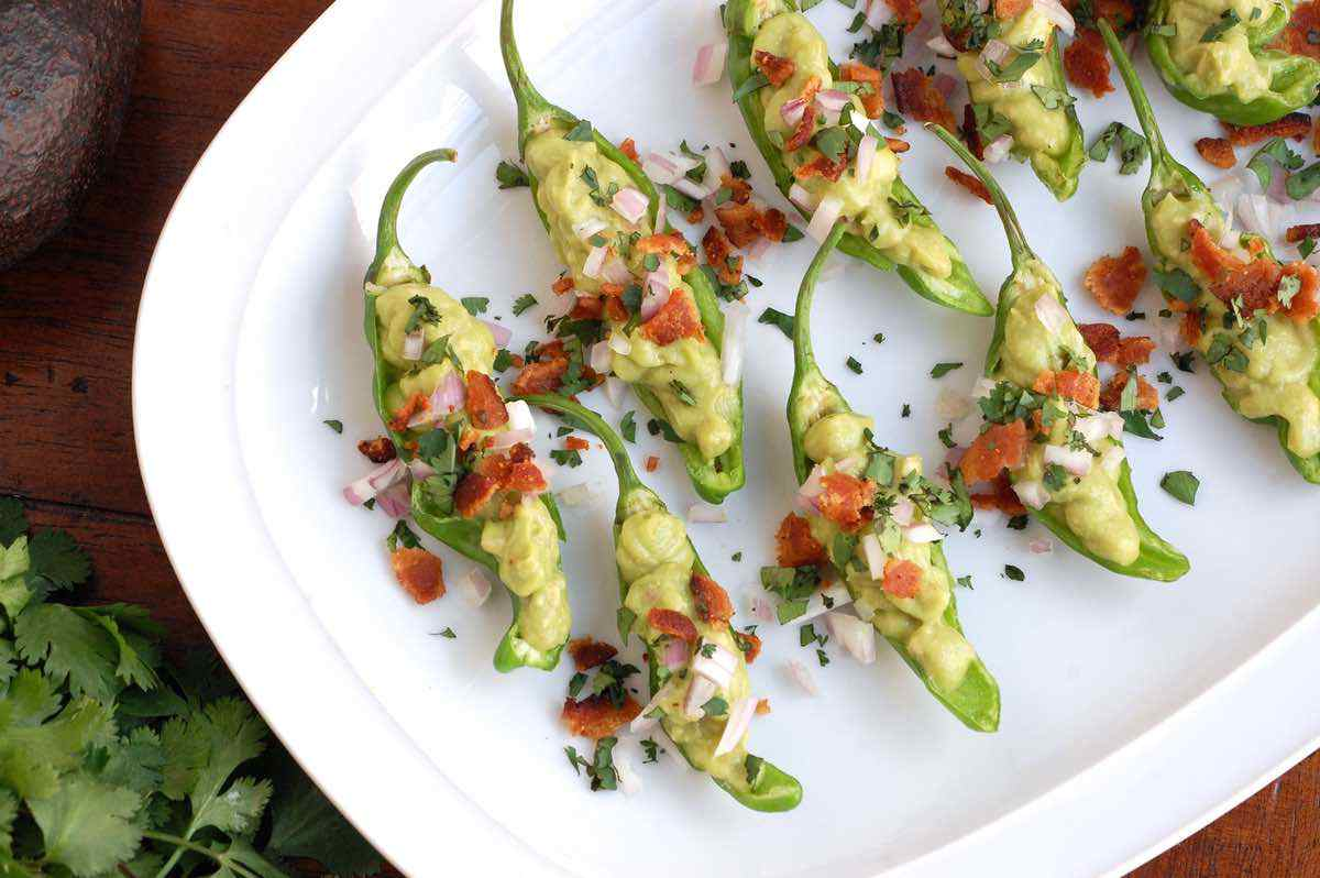 Guacamole and Bacon Stuffed Shishito Peppers