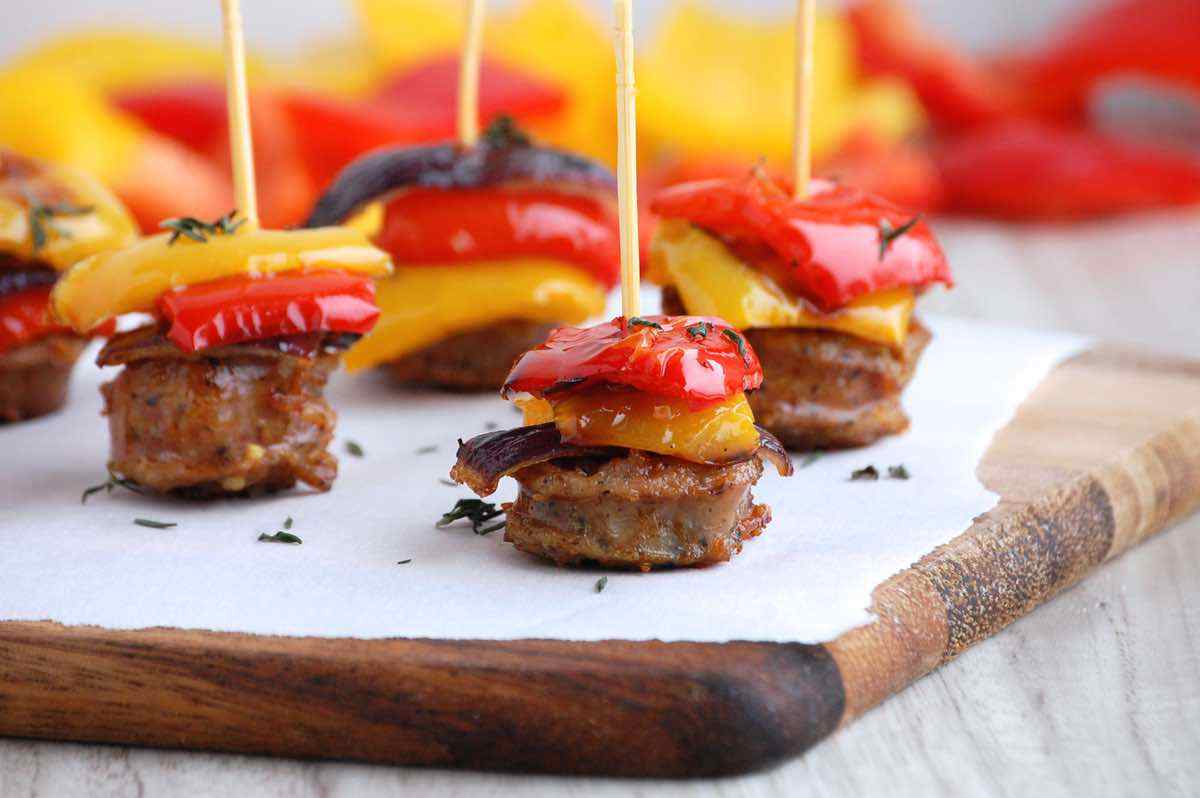Roasted Sausage and Pepper Skewers