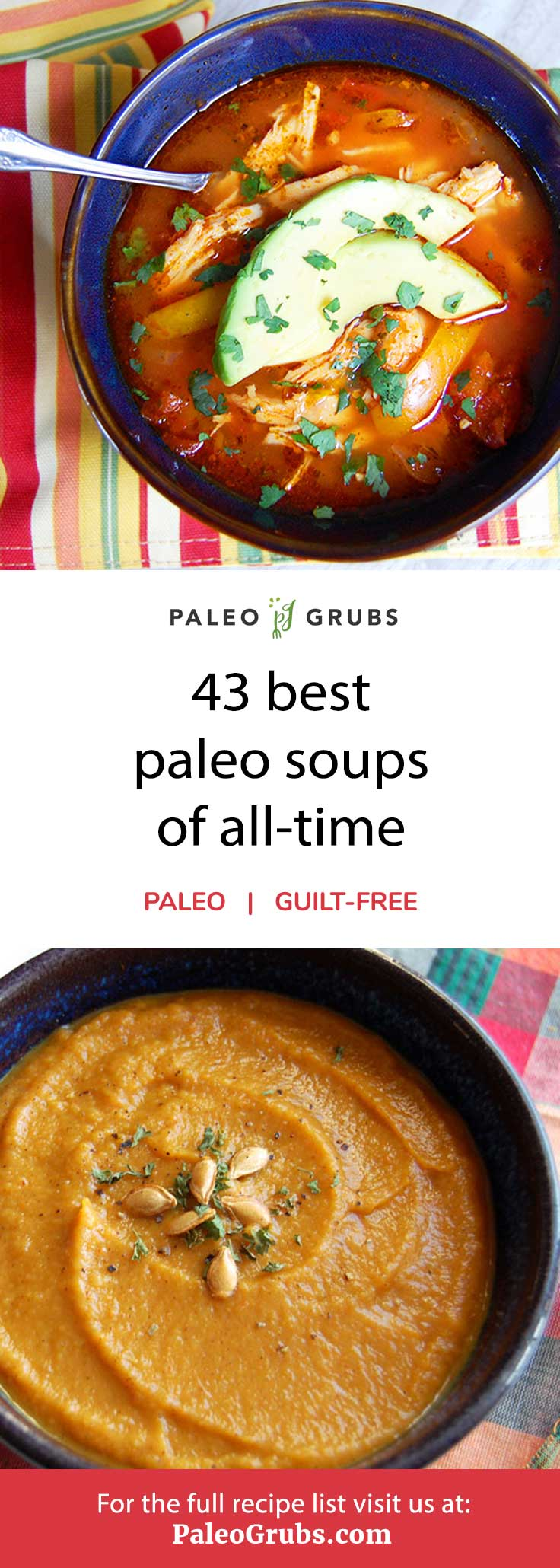 This is a great list of the best paleo soup recipes. From classic, comforting soups like tomato basil to easy recipes like slow cooker chicken tortilla soup.