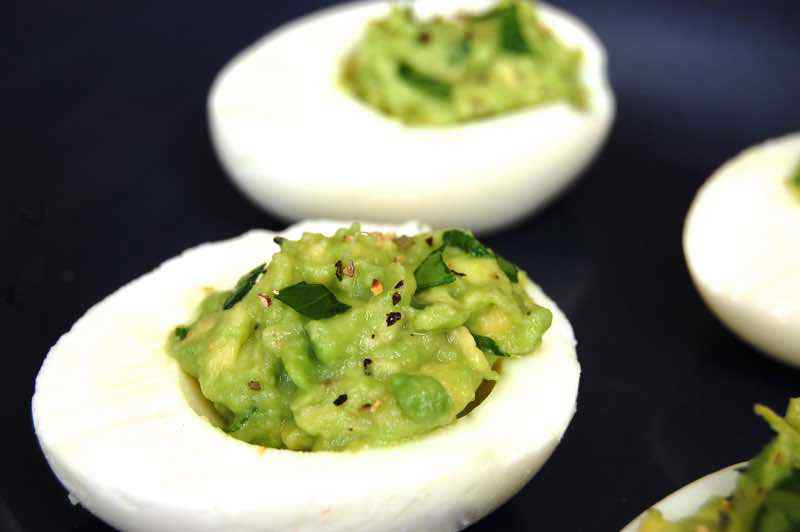 Paleo Avocado Deviled Eggs