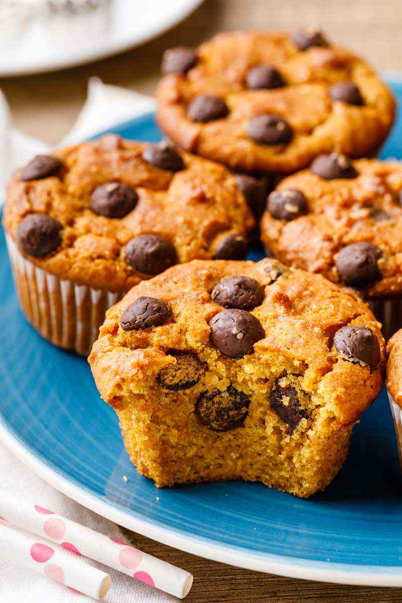 Pumpkin Chocolate Chip Paleo Muffins