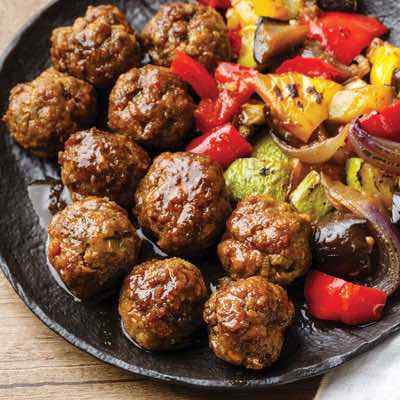 Teriyaki Paleo Meatballs with Roasted Japanese Vegetables