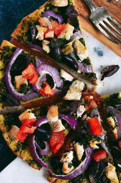 Thin Crust Chicken Pesto Paleo Pizza