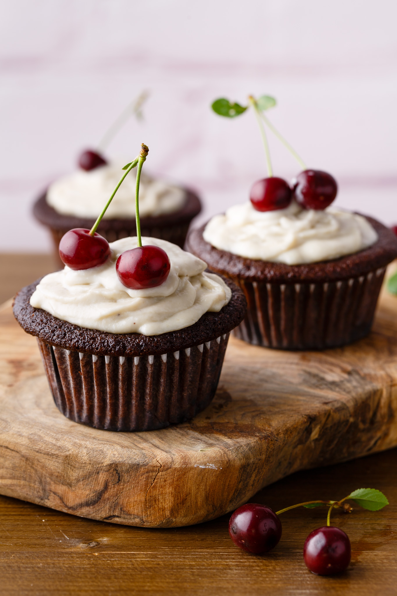 Dark Chocolate Black Forest Paleo Cupcakes