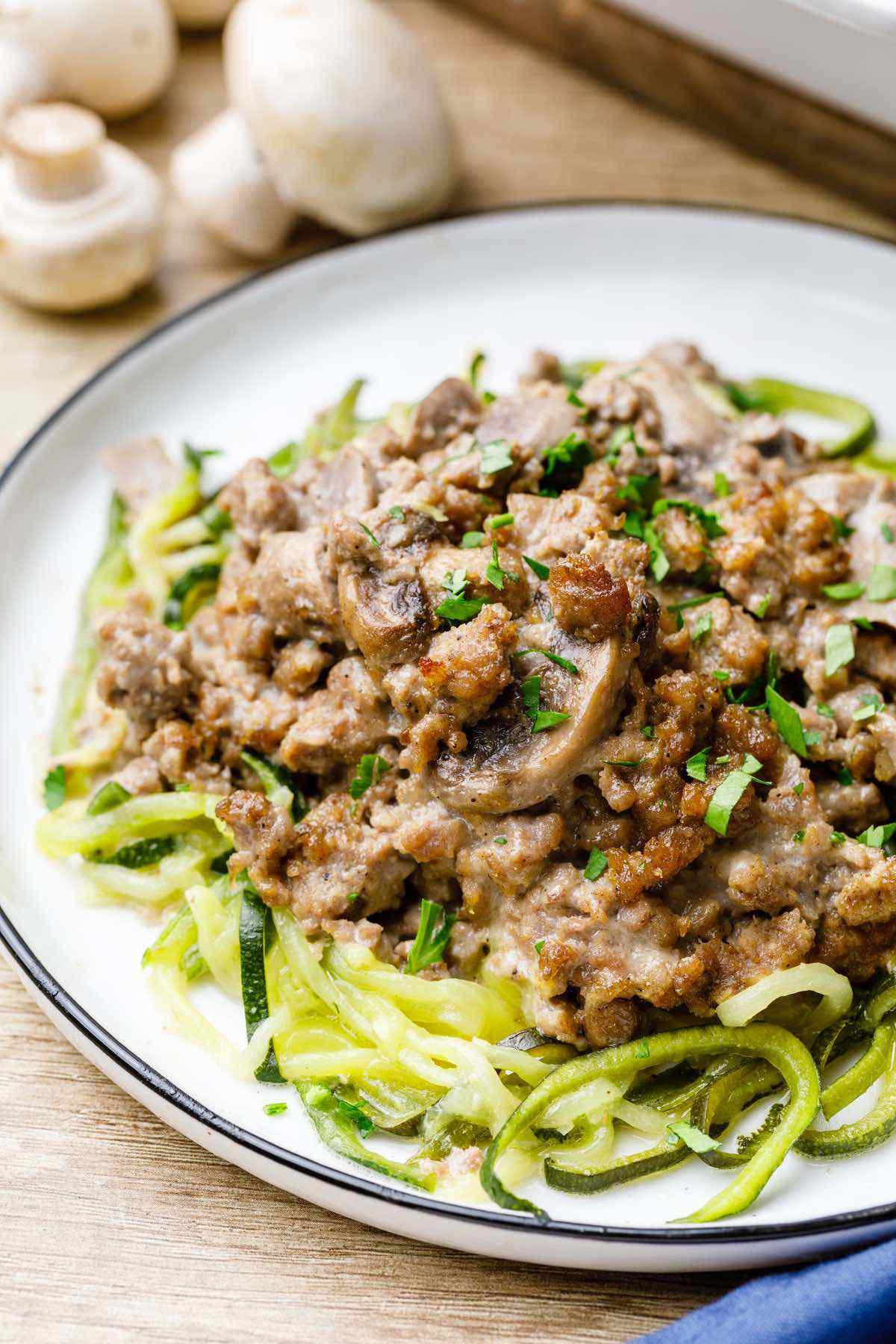Zucchini Noodle Ground Beef Stroganoff Casserole