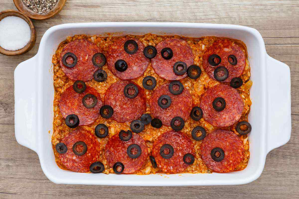 Loaded Supreme Pizza Paleo Casserole