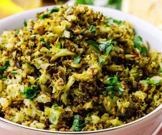5-Ingredient Garlic Roasted Broccoli Rice