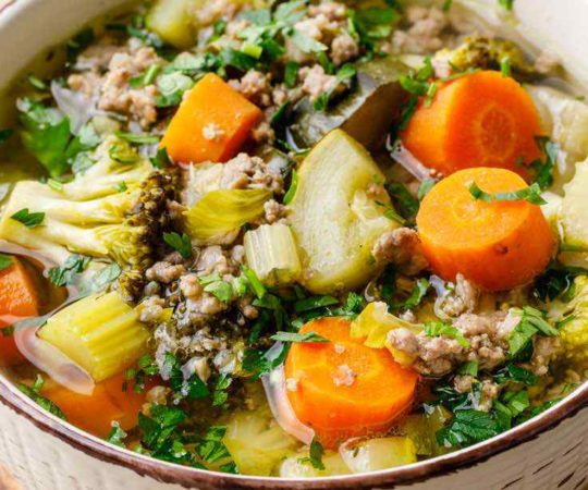 Paleo Crockpot Ground Beef Vegetable Soup