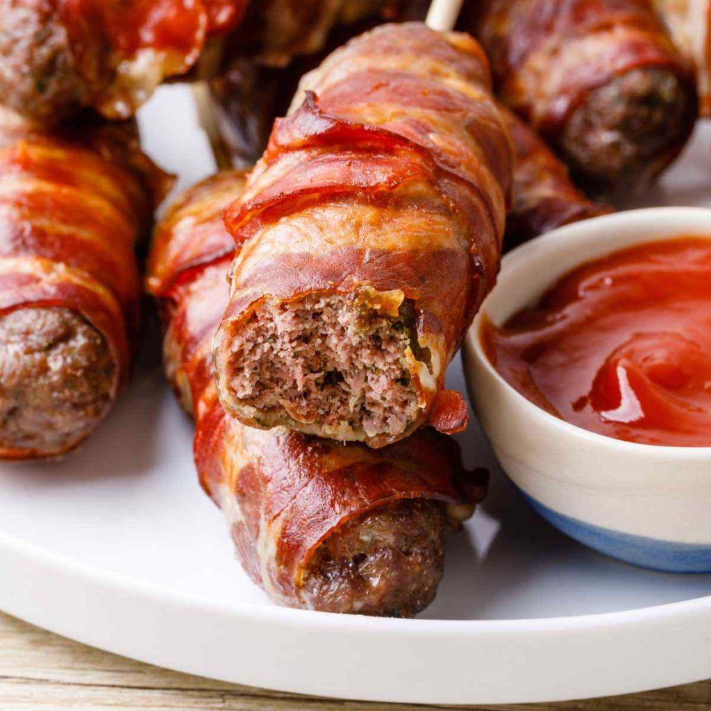 Bacon-Wrapped Paleo Meatloaf Skewers