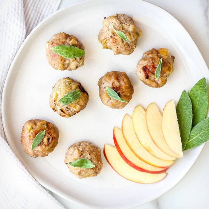 Sage and Apple Breakfast Meatballs