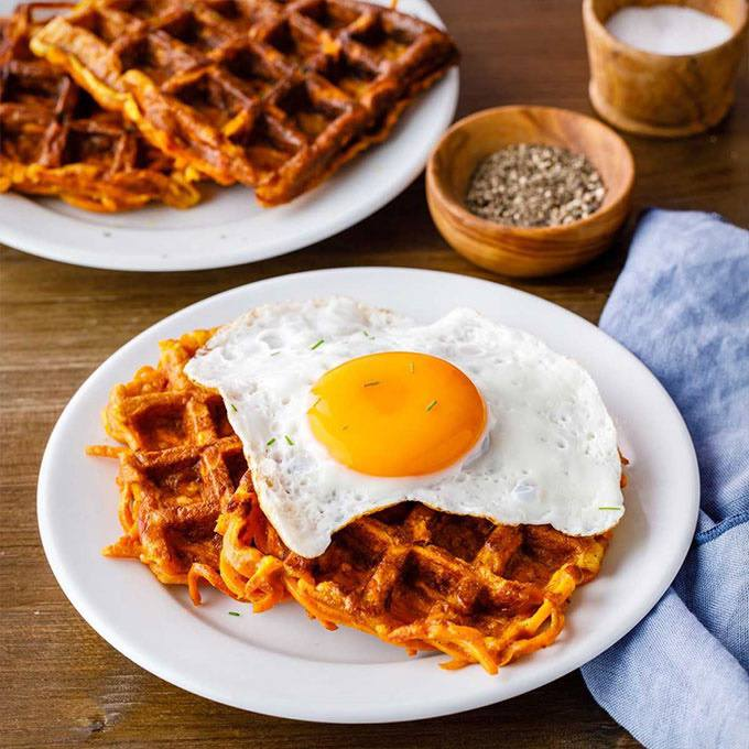 Sweet Potato and Chive Waffles