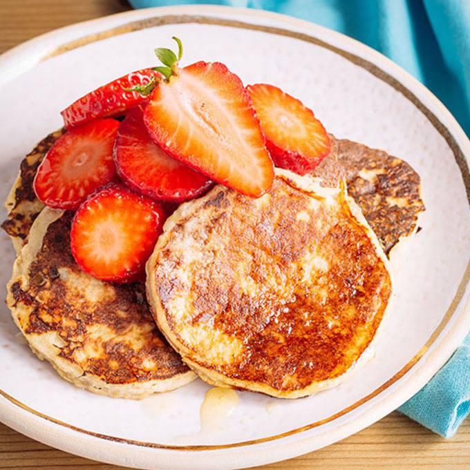 The Best Paleo Banana Pancakes with Fresh Strawberries