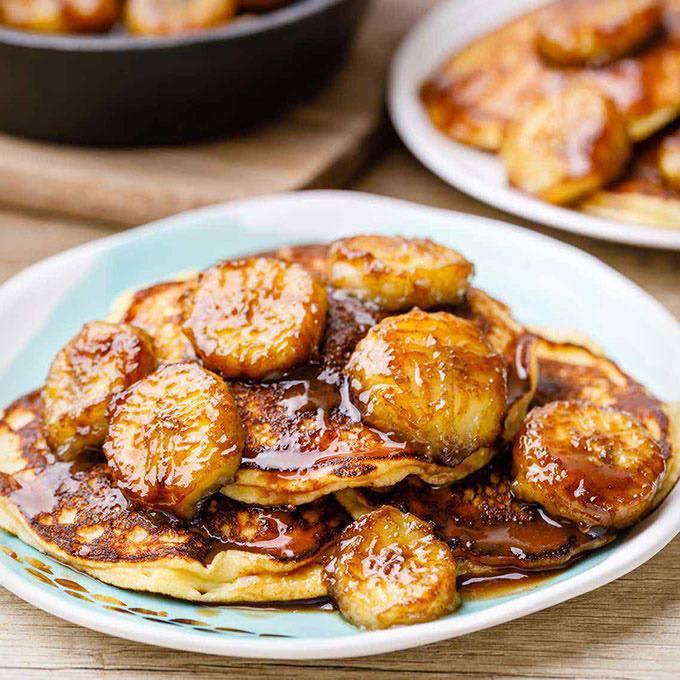 Addictive Paleo Bananas Foster Pancakes