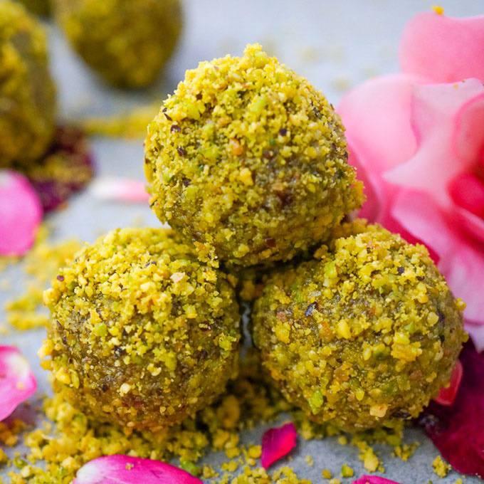 Cardamom Pistachio Rose Energy Balls