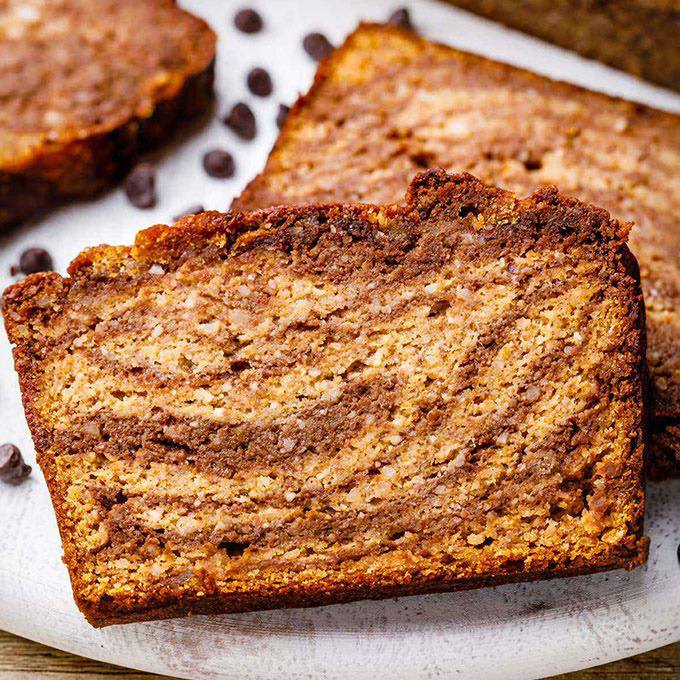 Chocolate Swirl Pumpkin Paleo Banana Bread