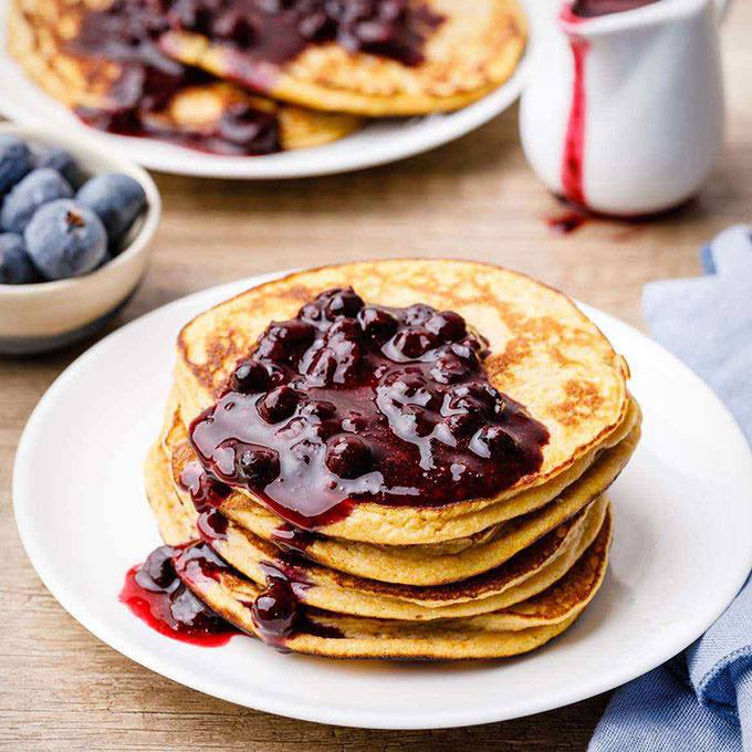 Coconut Flour Pumpkin Pancakes with Blueberry Syrup