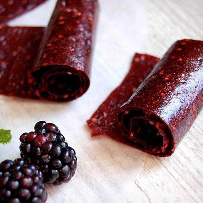 Homemade Blackberry Paleo Fruit Roll-ups