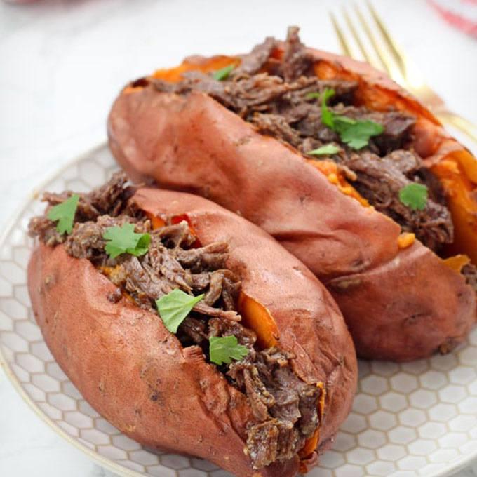 Instant Pot BBQ Stuffed Sweet Potatoes