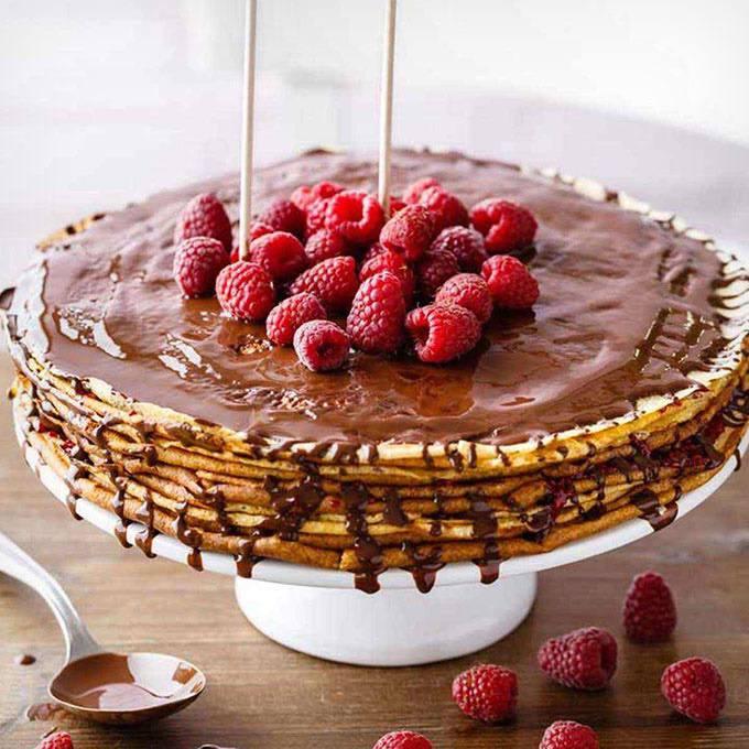 Layered Raspberry Crepe Cake