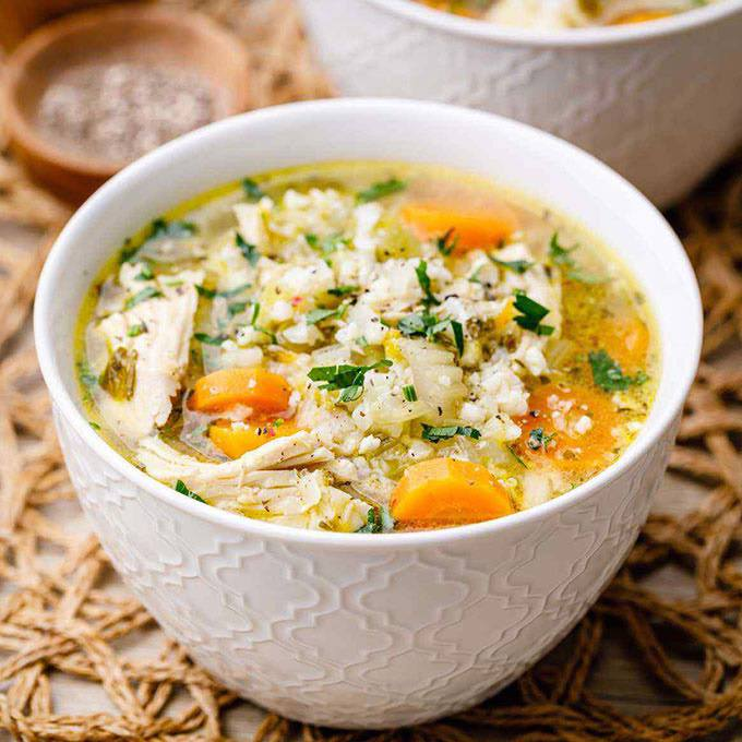 Low Carb Instant Pot Chicken and Cauliflower Rice Soup