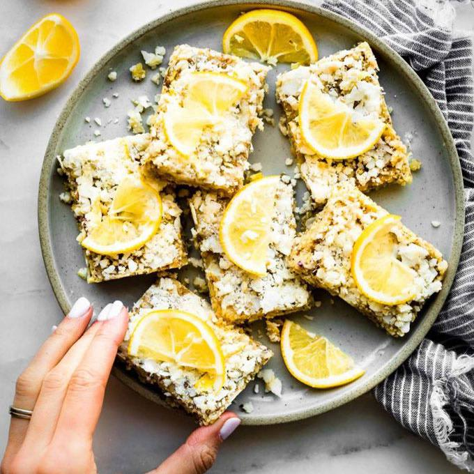 No Bake Lemon Coconut Paleo Energy Bars